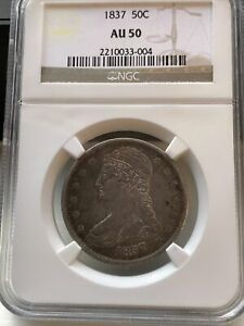 1837 Capped Bust Half Dollar Reeded Edge NGC AU50
