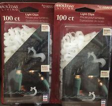 2, 100 Ct Holiday Living Shingle Gutter Light Clips Christmas Holiday Decor Nib