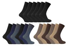 6 Pack Mens Soft 100% Cotton Rich Non Elastic Loose Wide Top Thin Dress Socks