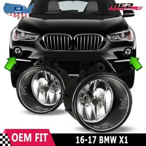 Fits 16-17 BMW X1 Clear Lens PAIR OE Bumper Replacement Fog Light Lamps DOT