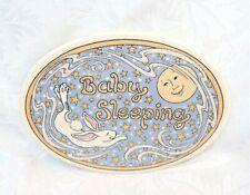Nursery Ceramic Wall Plaque Sign - Baby Sleeping with Moon & Dreamy Rabbit