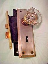 1 Door Set Antique Glass Door Knobs One Skeleton Key, Lock, and two Door Plates