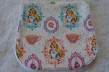 Multi-Coloured Alice on White Burp Cloth Handmade