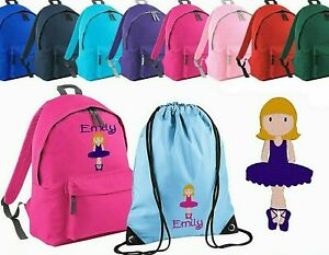 Embroidered Personalised School Bag ,Rucksack, Backpack, PE Bag - [Dancer].
