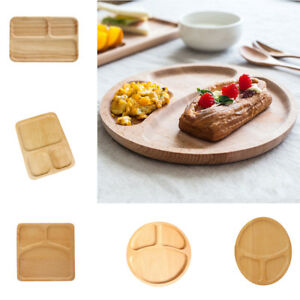 Family Dinner Tableware Wooden Plate Snacks Fruits Wood Serving Tray Divided