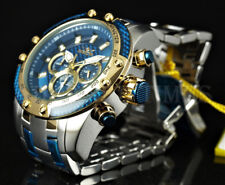 Invicta 50mm Speedway Blue Fiber Glass Dial Chronograph 18KGP Two Tone Watch