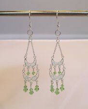 Handmade Sterling Silver Chandelier Earrings With Light Green Crystals. 3 inches