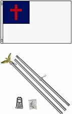 3x5 Christian Flag w/ 6' Ft Steel Flagpole Flag Pole kit Eagle Hardware Bracket