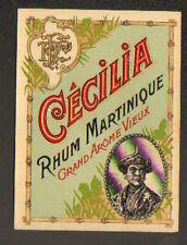 ETIQUETTE Chromo ANCIENNE de RHUM CECILIA Martinique / Portrait FEMME ANTILLAISE