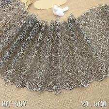 """1 Yard Pretty Fancy Floral  Embroidered Black Tulle Lace Trim 8 1/2"""" Wide"""