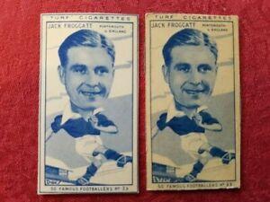 Turf Cigarette Cards - 50 Famous Footballers - 2 variants of Jack Froggatt