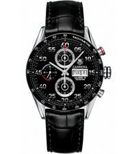 CV2A10.FC6235  NEW TAG HEUER CARRERA AUTO CHRONO DAY DATE MENS LEATHER WATCH