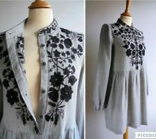 ZARA TRAFALUC Grey Black Embroidered Tunic Top Mini Dress Size S UK 8 or 10
