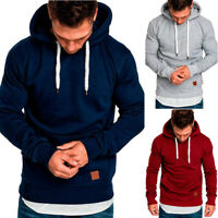 Men's Winter Autumn Casual Pullover Drawstring Hoodie Plus Size Sweatshirt M-3XL