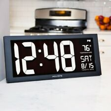 NEW AcuRite Large Digit Digital Desktop Clock Indoor Temperature Calendar & Date
