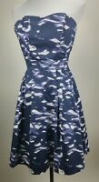 Women's H&M Strapless Sweetheart Dress Size 2 Blue Purple Pleated