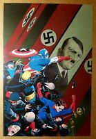 Captain America Bucky punch Hitler Marvel Comics Poster by Marcos Martin