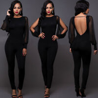 Women Ladies Club wear Long Sleeve Play suit Bodycon Party Jumpsuit Long Romper