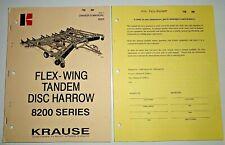 Krause 8200 Series Tandem Disc Harrow Owners Operators Parts Manual Amp Supplement