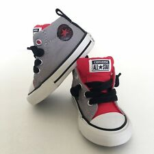 EUC Converse Red Gray White Infant Kids Boys High Top Shoes Sneakers Sz 3