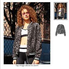 New Victoria's Secret PINK Ltd Release Sherpa Bomber Jacket Leopard Gray Sz L