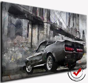 Mustang Ford Auto Oldtimer Bild Leinwand Wandbild Sport Kunstdrucke Deko Art