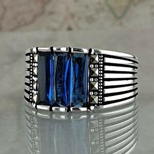 Handmade Solid 925 Sterling Silver Blue Sapphire Gemstone Mens Ring Ottoman