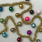 New Cody Foster & Co Merry & Brght Glass Ball Ornament Garland With Gold Tinsel.