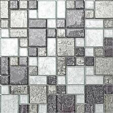 Black & Silver Foil Modular Glass Mosaic Tiles Sheet 300x300x6mm (MT0044)