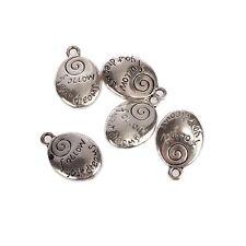 "Tibetan Oval Silver ""follow your dream"" Charms fit bracelet 10pcs 22*15mm"
