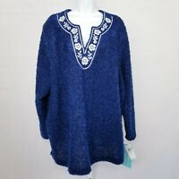 Cathy Daniels Womens Knit Sweater NWT Navy Blue Keyhole Plus Size 3x Embroidery