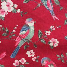 """Cath Kidston Half Yard Cotton Canvas Fabric 56"""" Wide British Birds Red DF050"""