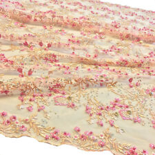 Floral Ariya Lace Sequins Embroidered Beaded Scallop Fabric 48/49'' BTY Peach