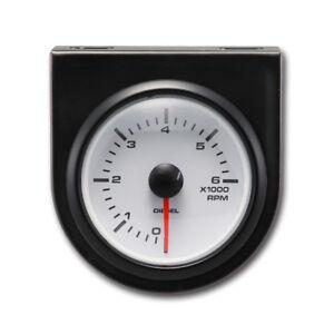 "MOTOR METER RACING Universal Tachometer For Diesel 2"" 6000 RPM White LED"