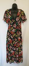Topshop Floral Open Back Ruched Multicoloured Midi Dress Size 6-10