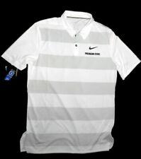 Michigan State Spartans men's white & grey stripe polo Shirt size Medium