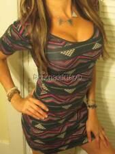 TRESICS SEXY AZTEC IKAT STRETCH LOW CUT SCOOP NECK TEE SHIRT MINI DRESS BOHO M 4