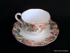 Nikko Precious Cup & Saucer Red/Pink Flowers Green Leaves Scalloped EUC