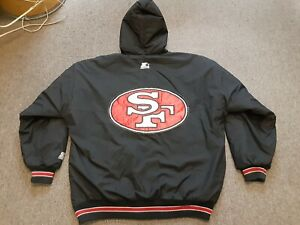 VTG 90s Starter NFL San Francisco 49ers Niners Zip Up Hoodie Jacket BLK X-Large