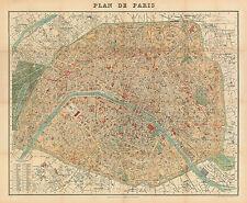 Plan de Paris Historical City Map from 1904 (Hachette) Vintage Print Poster