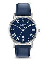 Bulova American Clipper Men's Quartz Date Indicator Blue Band 40mm Watch 96B295