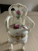 Ceramic Victorian Rose Hinged Trinket Box Chair Formalities by Baum Brothers