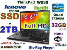 (3D-Design FHD) Thinkpad W530 i7-3rd-QUAD (BD-R 256GB-SSD + 2TB 32GB)15.6 nVIDIA