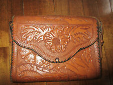 Beautiful Vintage Hand Tooled Leather Handbag Purse Intracate Floral Carved (t)