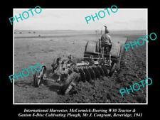 OLD HISTORIC PHOTO OF INTERNATIONAL HARVESTER McCORMICK DEERING W30 TRACTOR 1941