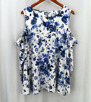Kensie Womens Stitch Fix Cold Shoulder Sleeveless Floral Shirt Top Sz 2X Plus