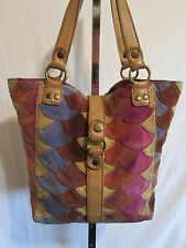 Lucky Brand Lrg Suede Fish Scale Pattern Multicolor Patchwork Tote Handbag