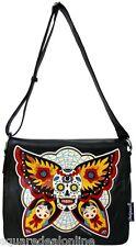 78044 Black Sugar Skull Butterfly Effect Messenger Bag Purse Tattoo Flash Punk
