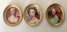 Dolls house miniature 1:12 THREE pretty oval portraits