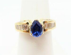 14K Yellow Gold Pear Shape Sapphire Center ~3/4CTW Diamond Ring Size 7 1/4